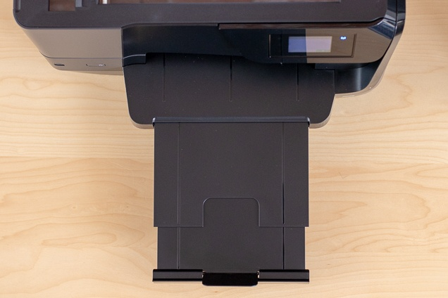A look at the OfficeJet master 8710 printer printer's retractable article collection branch.