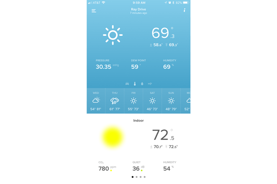 A screenshot was Netatmo iphone app detailing an overview of current house and exterior climatic conditions.