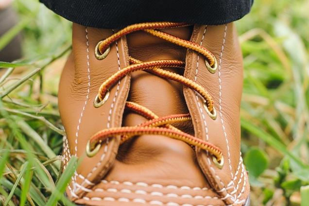 A close-up of laces to the l.l.Bean boots.