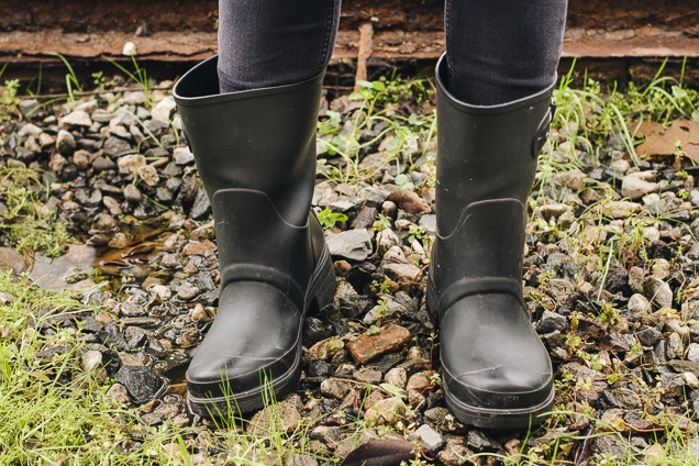 A set of black color rogue master tender weather Women's Boots staying displayed in a difficult sphere.