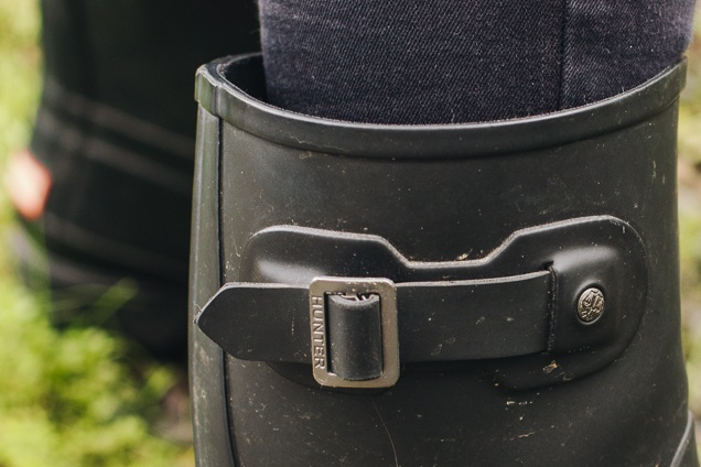 A close-up systems calf clasp regarding the huntsman footwear.
