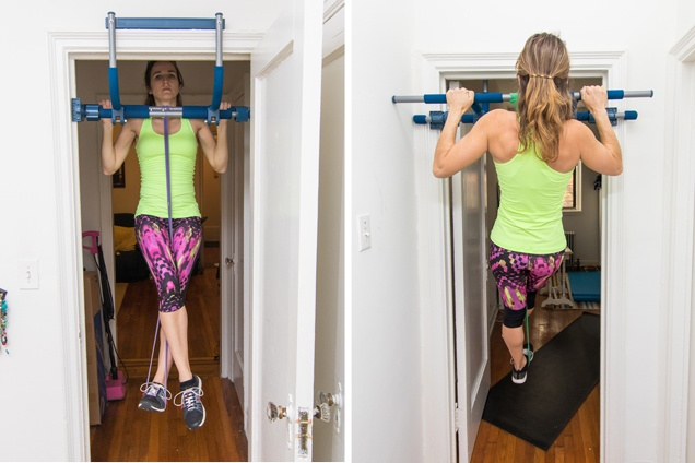 The article author applying dedicated sword level of resistance bracelets to help along pull-ups.